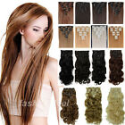 8Pcs Long NEW Women Straight 100% Natural Hair Extensions 18Clips Full Head su78
