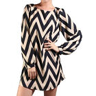 Women Long Sleeve Casual Party Evening Cocktail Jumper Blouse Striped Mini Dress
