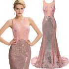 Lace+Applique Long Backless Evening Gown Prom Bridesmaid Masquerade Ball Dress
