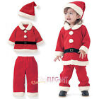 Toddler Kids Girls Children Christmas Santa Claus Costume Dress Outfit Hat Set