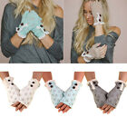 Fashion Knit Crochet Lace Trim Women Button Mitten Fingerless Half Finger Gloves