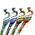 Women Peacock Charm Hair Stick Pin Rhinestone Handmade Hair Chopsticks Hairpin