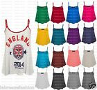 LADIES WOMENS SLEEVELESS SHORT MINI CAMI VEST PLAIN TOP DESIGNER SIZES 8-26
