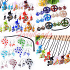 Colorful Cute Lampwork Glass  Pipe Sea Horse Necklace Hook Earring Jewelry Set