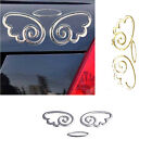 Universal Cute Car Rear Angel Wing Oval Sticker Graphic Decal Silver Golden Tone