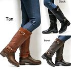 New Women FFat Tan Black Brown Quilted Knee High Riding Rain Boots 6 to 10