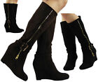 NEW WOMENS LADIES BUCKLE MID HEEL CALF CASUAL FAUX SUEDE WEDGE BOOTS SHOES SIZE