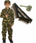 Army Boy Kids Soldier Action Man Fancy Dress Costume Outfit Bullet Belt Dog Tag