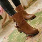 Newest Womens Boots Shoes Square Heel Buckle Shoes Platform Riding Ankle Boot