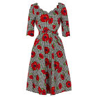 Voodoo Vixen Houndstooth Check Floral Poppy Flared Dress 1950s Vintage Fashion