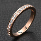 Pave Round White Sapphire Solid 14K Rose Gold Engagement Wedding Band Promise