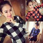 WOMEN PLAID CHECKED PULLOVER CROP TOPS CASUAL LONG SLEEVE HOODIE SHIRT SWEATWEAR