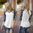 Women's Casual T Shirt Blouse Tops 3/4 Sleeve Shirt Loose Lace Floral Print Tank