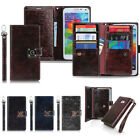 New Double Leather Wallet Diary Book Case Cover For iPhone Galaxy LG + Film