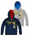 Boys Minions Zip Front Hoodie New Kids Fleece Lined Sweatshirt Tracksuit 3-8 Yrs