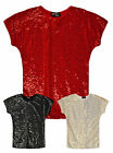 Girls Short Sleeved Sequin Batwing T Shirt New Kids Sparkle Christmas Top 7-13