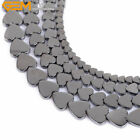 "Heart Black Hematite Gemstone Jewelry Making Loose Beads Strand 15"" Size Pick"