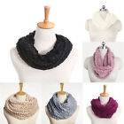 Women Winter Warm Faux Fur Infinity 2 Circle Cable Knit Cowl Neck Scarf Shawl