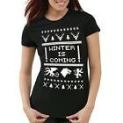 8-Bit Winter is coming Damen T-Shirt throne stark game lennister of got schnee