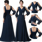 Sexy Long Sleeve Formal Evening Party Dress Prom Bridesmaids Wedding Ball Gown