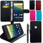 Slim Flip Stand Wallet Leather Case For Huawei Nexus 6P Card Slots & Stylus Pen