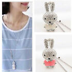 1pc Women Lovely Crystal Rhinestone Rabbit Pendant Long Chain Sweater Necklace