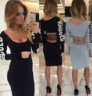 Sexy Women Ladies Long Sleeve Club Wear Bodycon Party Evening Mini Dress T1210e