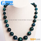 "Handmade 10-20mm Chrysocolla Beaded Graduated Necklace Jewelry 19"" Free Shipping"
