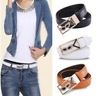 Womens Stretchy Crystal Leather Alloy Buckle Waist Belt Waitband Strap 3 Colors