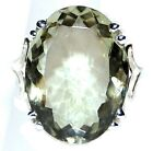 Sterling 925 Silver Green Amethyst Ring Genuine Gemstone Big Solitaire, All Size