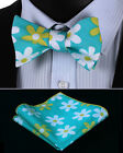 BMF404B Blue Yellow White Floral Men Cotton Self Bow Tie Pocket Square set