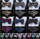 Check Houndstooth Men Cotton Self Bow Tie Pocket Square Handkerchief set #F9