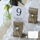 1/12/24pc Burlap Table Number Holders Rustic Wedding Name Card Holder Menu Stand
