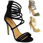NEW WOMENS LADIES STRAPPY GOING OUT PARTY STILETTO HIGH HEEL SHOES SANDALS SIZE