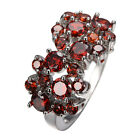 Garnet lab Rubise CZ Gem Engagement Rings 10Kt White Gold Filled Sz 6-10 Women's