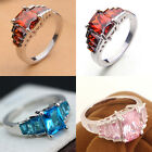 Women Elegant Red Pink Zircon Sapphire Crystal Silver Ring Wedding Ring Size6-10