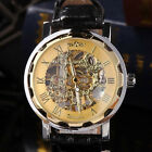 Classic Men's Gold Dial Skeleton Black Leather Mechanical Army Wrist Watch Gift