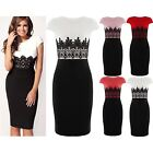 Womens Bodycon Midi Dress Celeb Wright Floral Lace Contrast Pencil Skirt Ladies