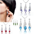 Jewellery Set 18K GP Crystal Pendant Necklace Teardrop Earrings Ear Stud Wedding