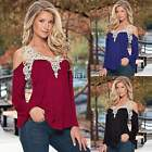 SEXY WOMEN OFF SHOULDER LACE SHIRT BLOUSE LONG SLEEVE LOOSE T-SHIRTS JUMPER TOPS