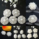 5x Bling Clear Glass Rhinestone Silver Flower Buttons Sewing Craft DIY Costume
