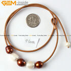 "Fashion 9-10mm Pearls Strand With Adjustable Brown Rope Necklace 17.5"" 5 Pcs"