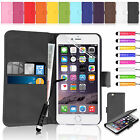 New Flip Wallet PU Leather Case Cover For Apple iPhone Models + Screen Protector