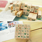 25pcs Set Wooden Box Lovely Rubber Diary Pattern Stamp Cute DIY Writing Art New