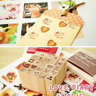 25pcs Wooden Box Lovely Diary Pattern Cartoon Stamp Rubber Multiduty Writing Art