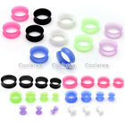 Pair(2) Thin Flexible Silicone Ear Skin Tunnels Plugs Ear Gauges Earskin Earlets
