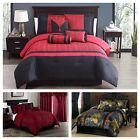 Chezmoi Collection 7-piece Luxury Jacquard Comforter Set Black, Gold, Red
