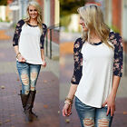 Hot Fashion Women 3/4 Long Sleeve Top Blouse Casual Loose Shirt Floral Print Tee