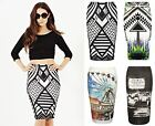 Womens Ladies Tube Stretch Pencil Skirt Bodycon Monochrome Aztec Tribal Midi