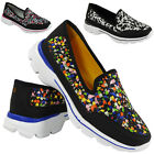 NEW LADIES SLIP ON COMFY TRAINERS WOMENS FITNESS GYM SPORT RUNNING SHOES SIZE